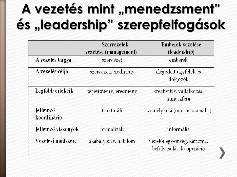 """A vezetés mint """"menedzsment és """"leadership szerepfelfogások"""