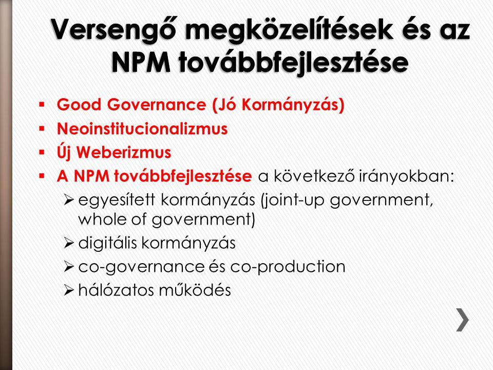 Versengő megközelítések és az NPM továbbfejlesztése