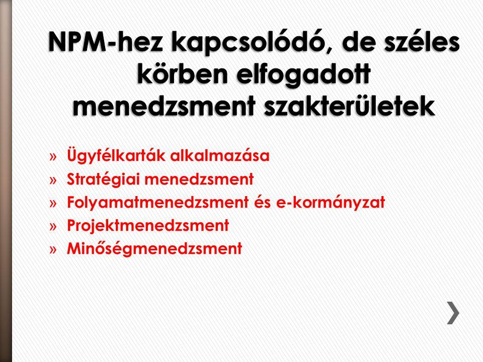 NPM-hez kapcsolódó, de széles körben elfogadott menedzsment szakterületek