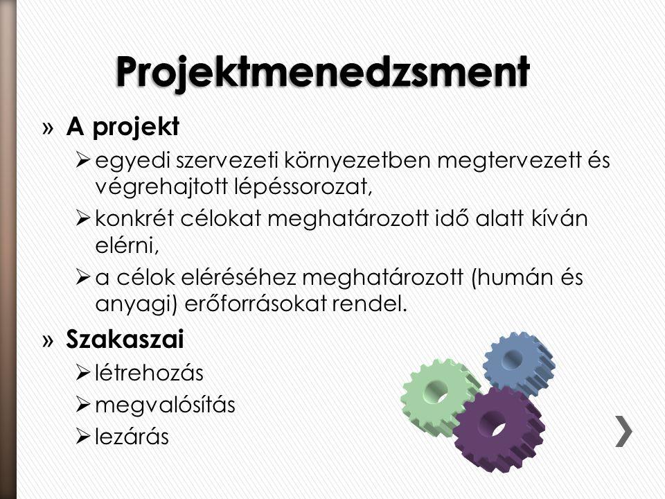 Projektmenedzsment A projekt Szakaszai