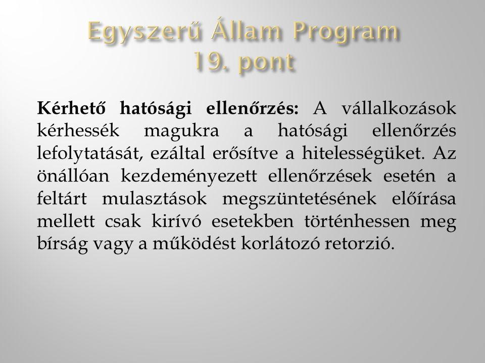 Egyszerű Állam Program 19. pont