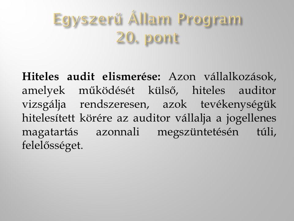 Egyszerű Állam Program 20. pont