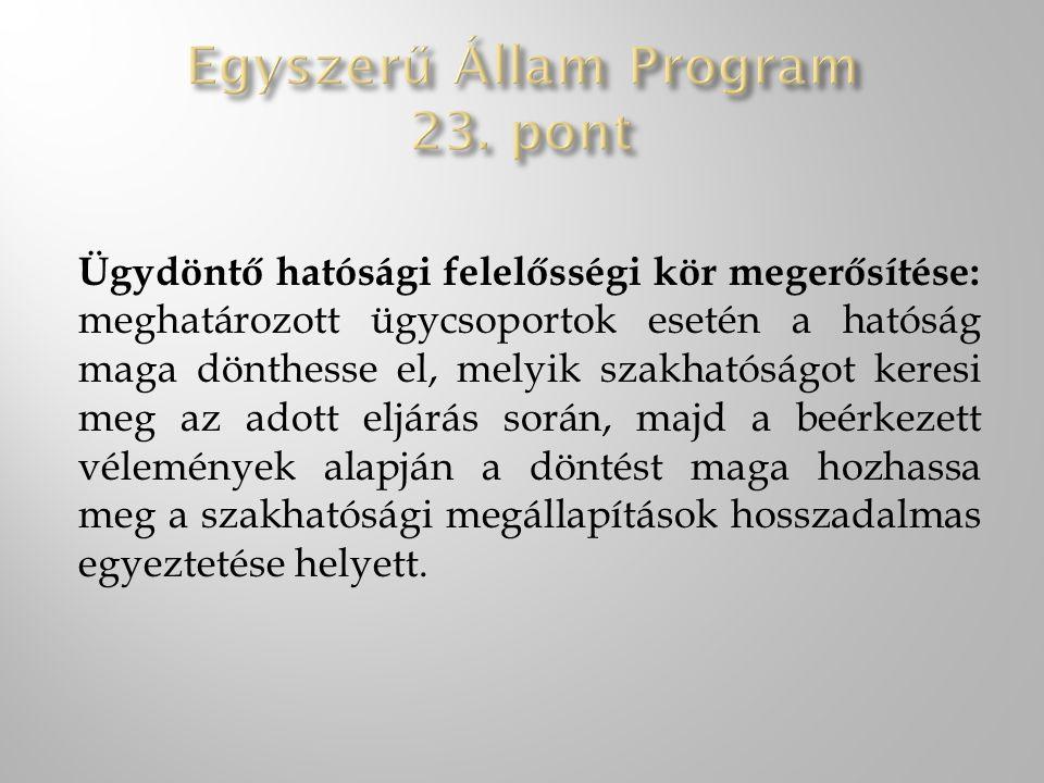 Egyszerű Állam Program 23. pont