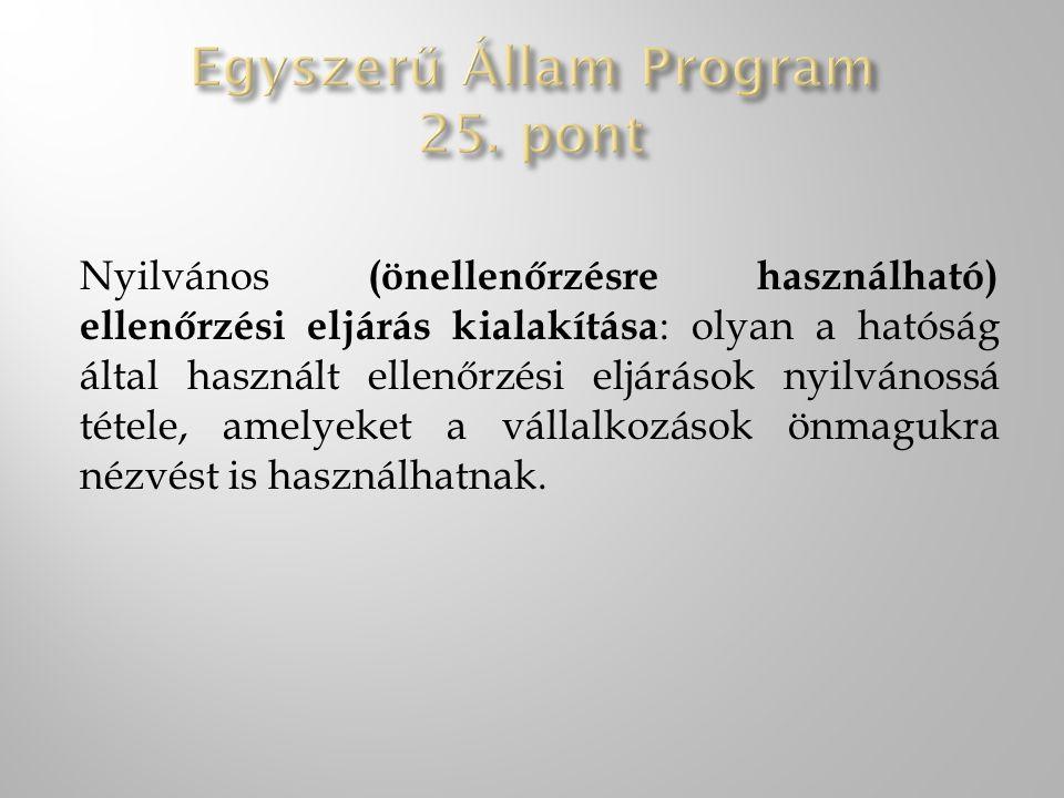 Egyszerű Állam Program 25. pont