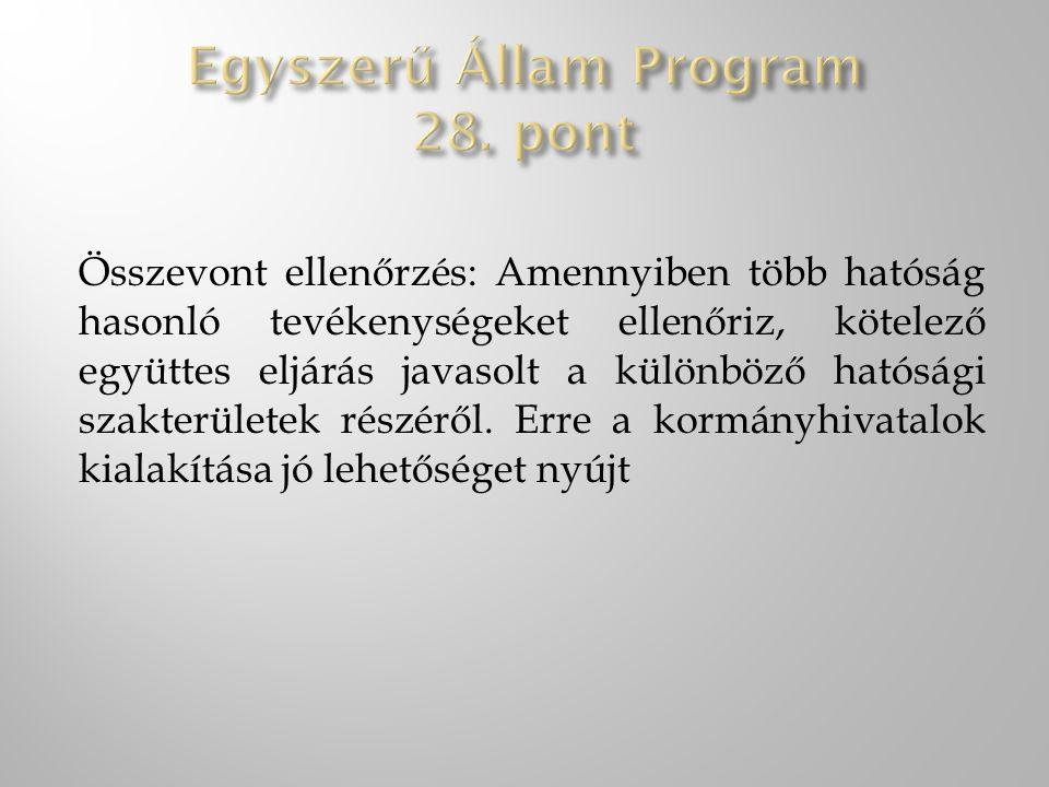 Egyszerű Állam Program 28. pont
