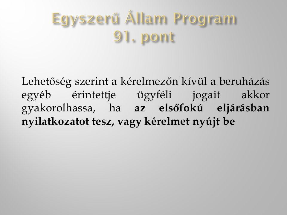 Egyszerű Állam Program 91. pont