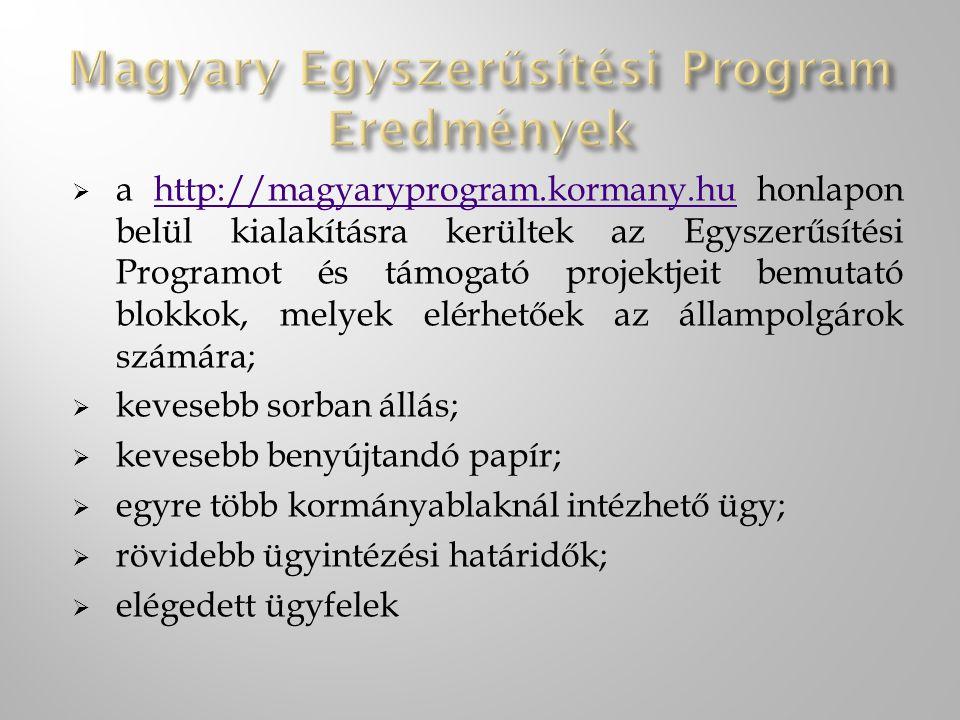 Magyary Egyszerűsítési Program Eredmények