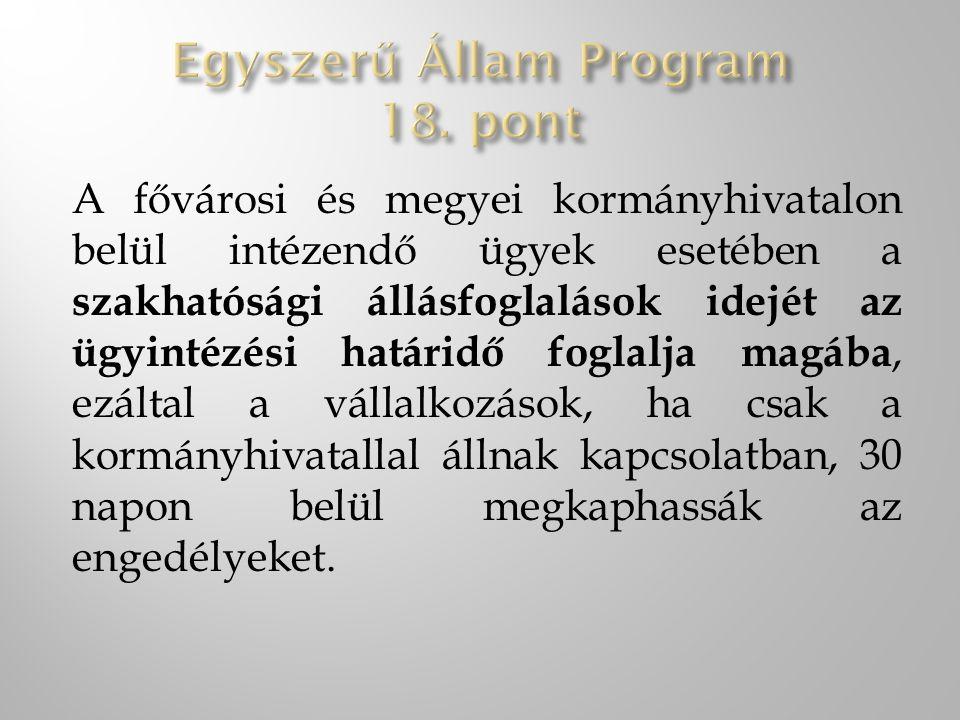 Egyszerű Állam Program 18. pont