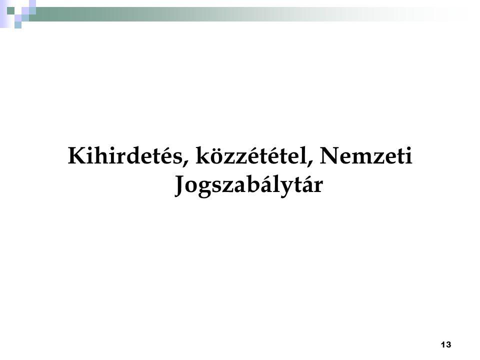 Kihirdetés, közzététel, Nemzeti Jogszabálytár