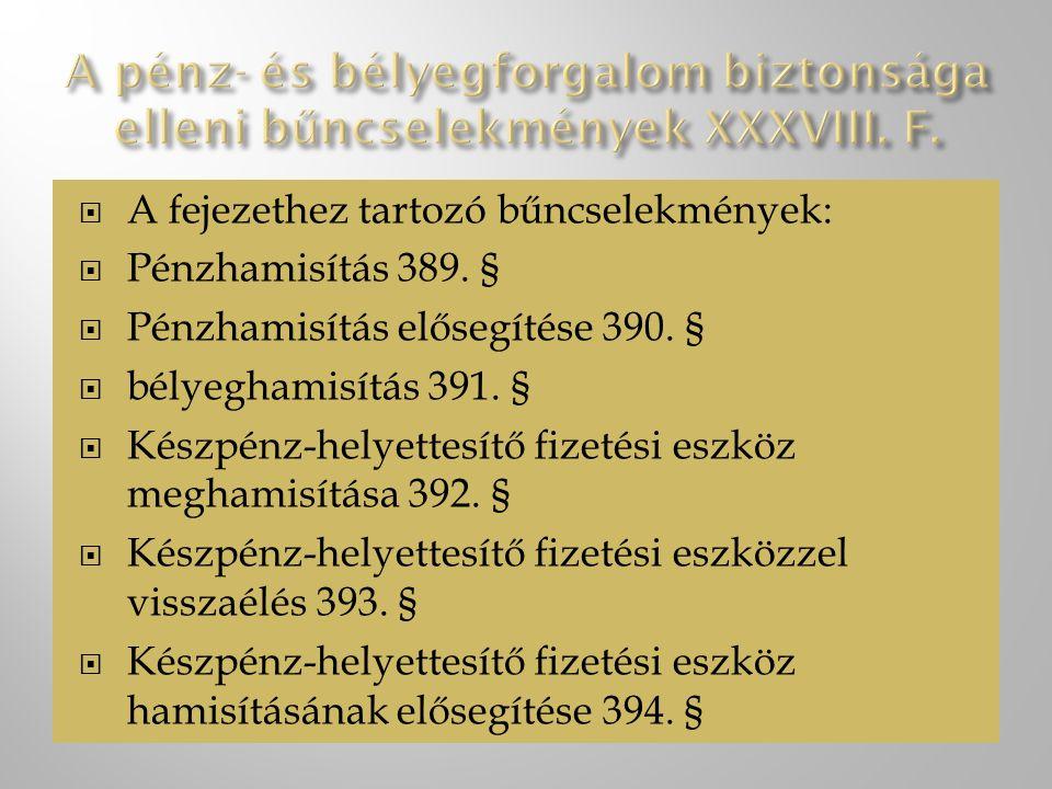 A pénz- és bélyegforgalom biztonsága elleni bűncselekmények XXXVIII. F.