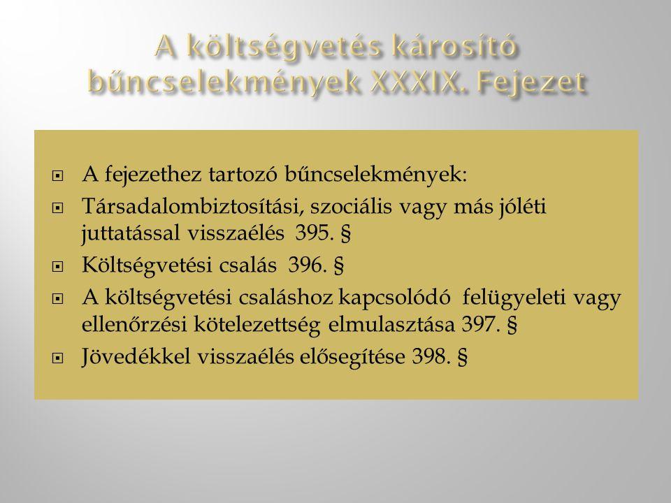 A költségvetés károsító bűncselekmények XXXIX. Fejezet