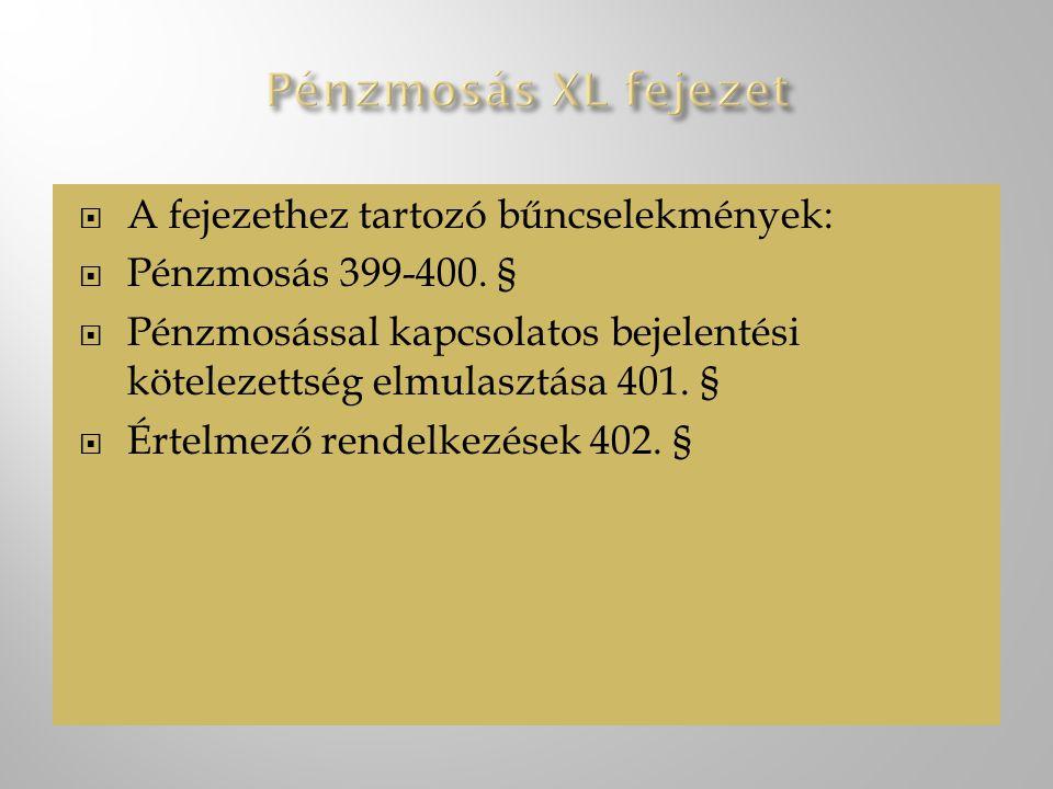Pénzmosás XL fejezet A fejezethez tartozó bűncselekmények: