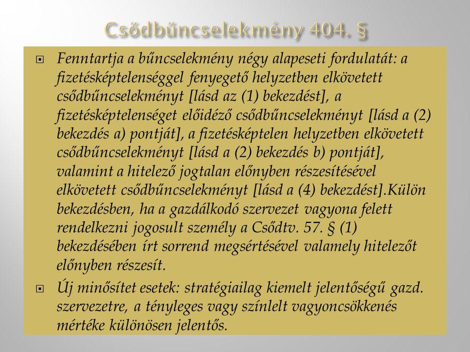 Csődbűncselekmény 404. §