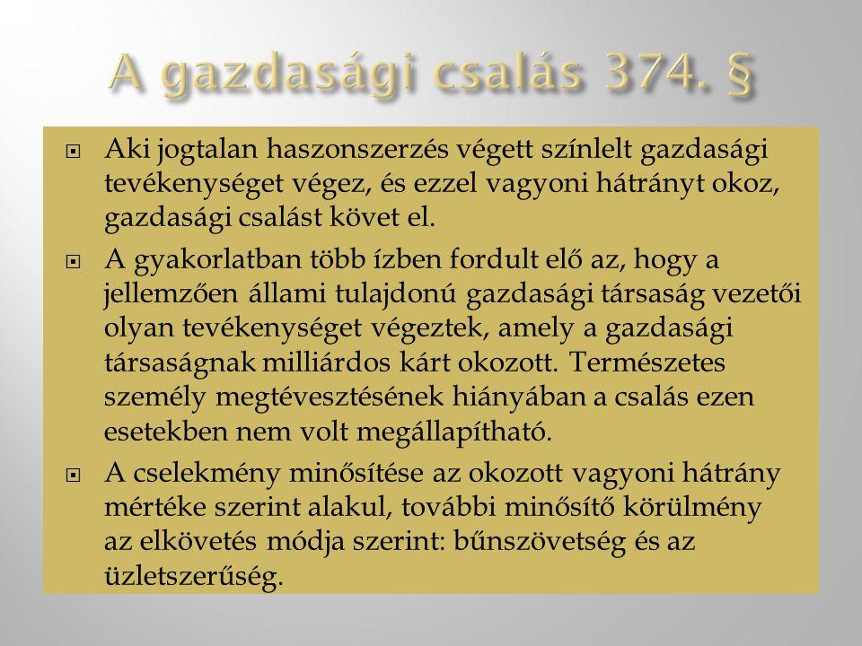 A gazdasági csalás 374. §