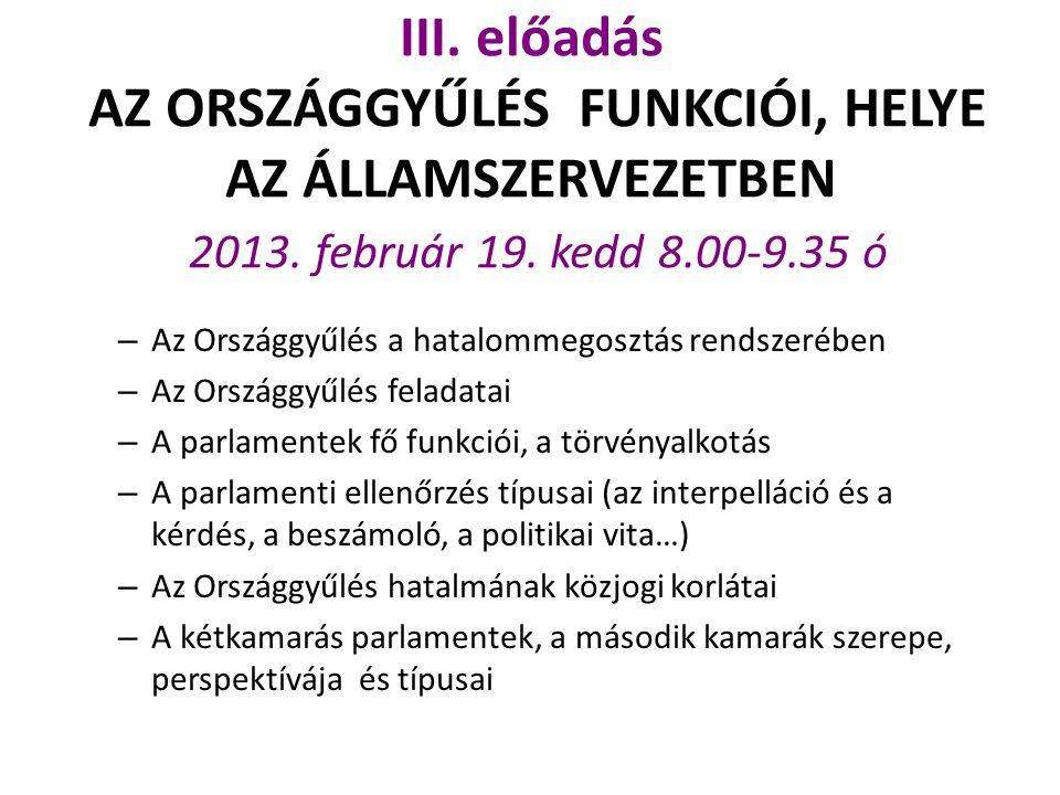III. előadás AZ ORSZÁGGYŰLÉS FUNKCIÓI, HELYE AZ ÁLLAMSZERVEZETBEN 2013