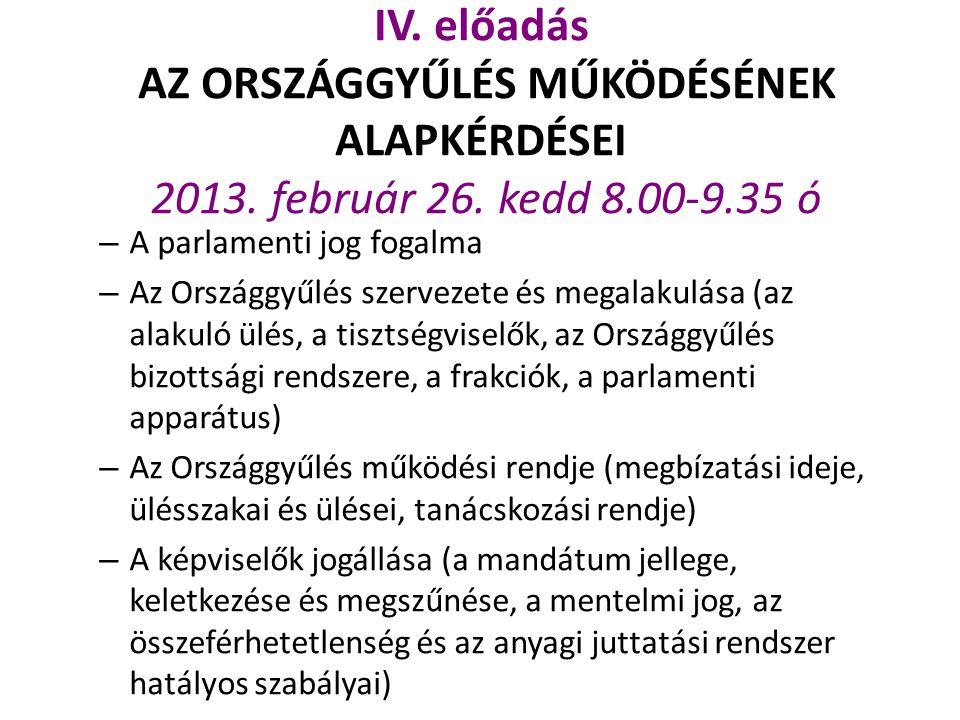 IV. előadás AZ ORSZÁGGYŰLÉS MŰKÖDÉSÉNEK ALAPKÉRDÉSEI 2013. február 26
