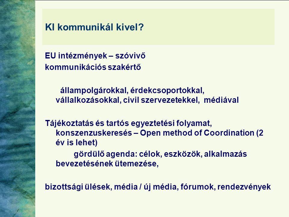 KI kommunikál kivel EU intézmények – szóvivő kommunikációs szakértő