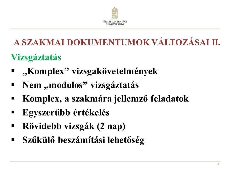 A SZAKMAI DOKUMENTUMOK VÁLTOZÁSAI II.