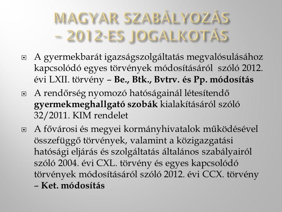 MAGYAR SZABÁLYOZÁS – 2012-ES JOGALKOTÁS