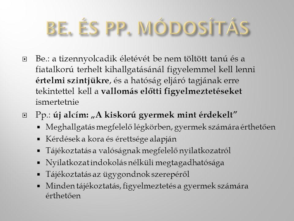 Be. és Pp. módosítás