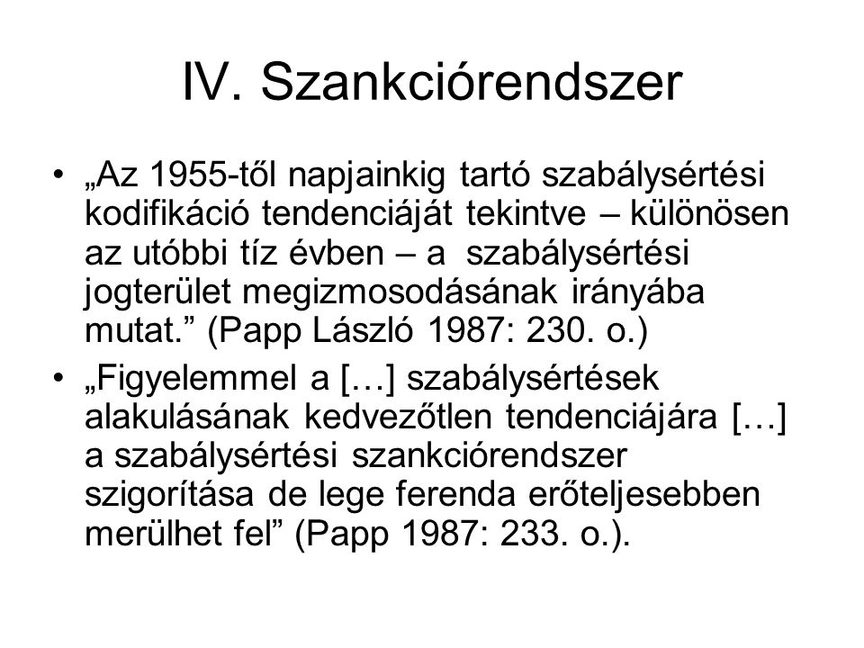 IV. Szankciórendszer