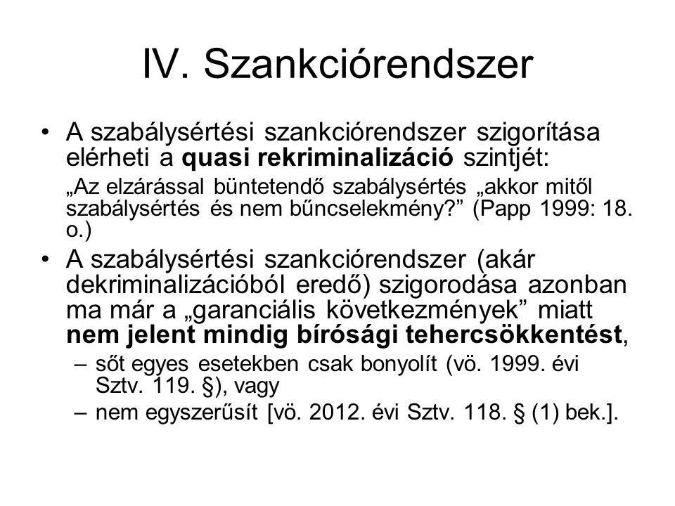 IV. Szankciórendszer A szabálysértési szankciórendszer szigorítása elérheti a quasi rekriminalizáció szintjét: