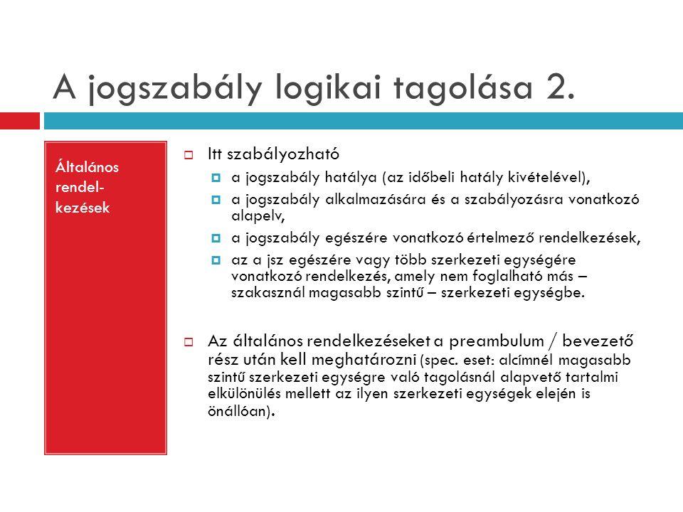 A jogszabály logikai tagolása 2.