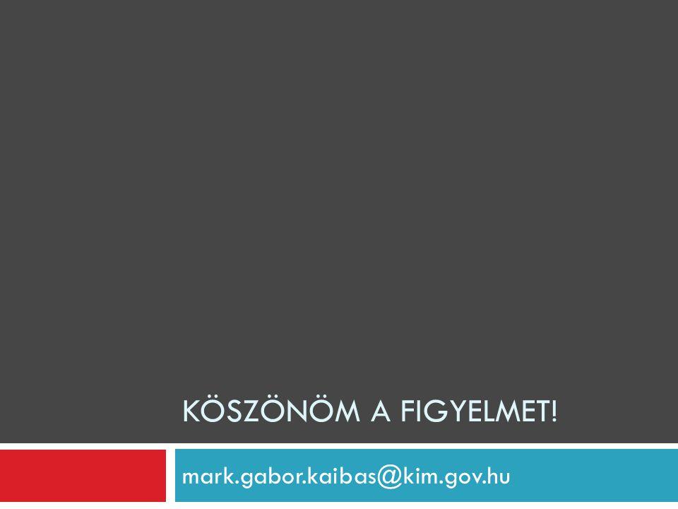 Köszönöm a figyelmet! mark.gabor.kaibas@kim.gov.hu