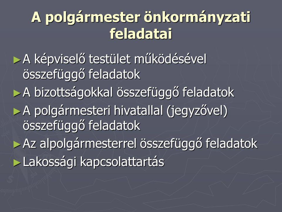 A polgármester önkormányzati feladatai