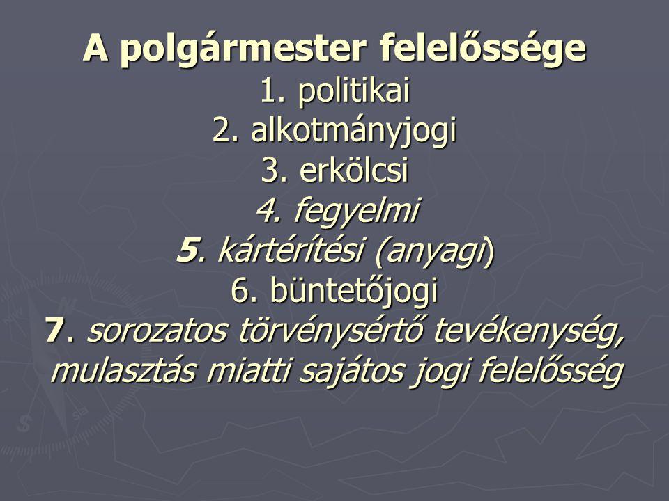 A polgármester felelőssége 1. politikai 2. alkotmányjogi 3. erkölcsi 4