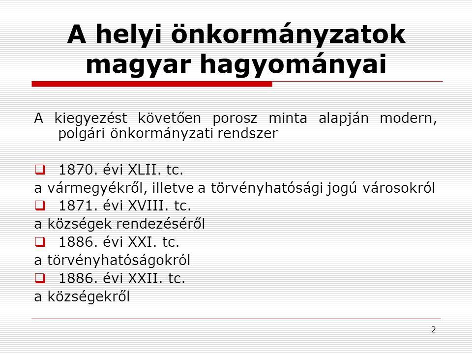 A helyi önkormányzatok magyar hagyományai