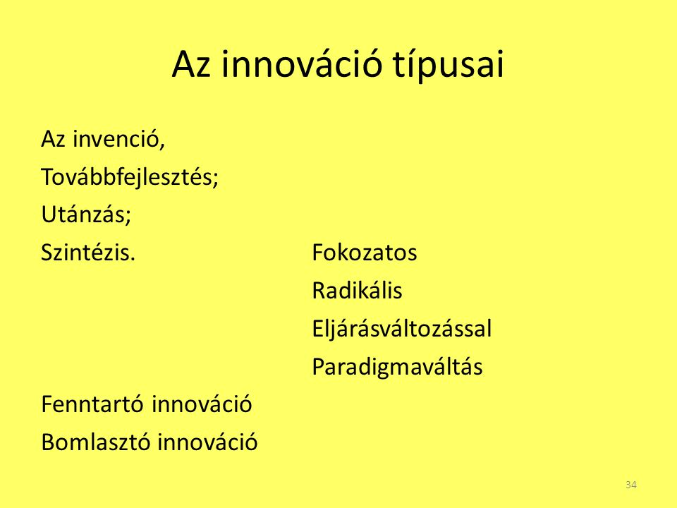 Az innováció típusai