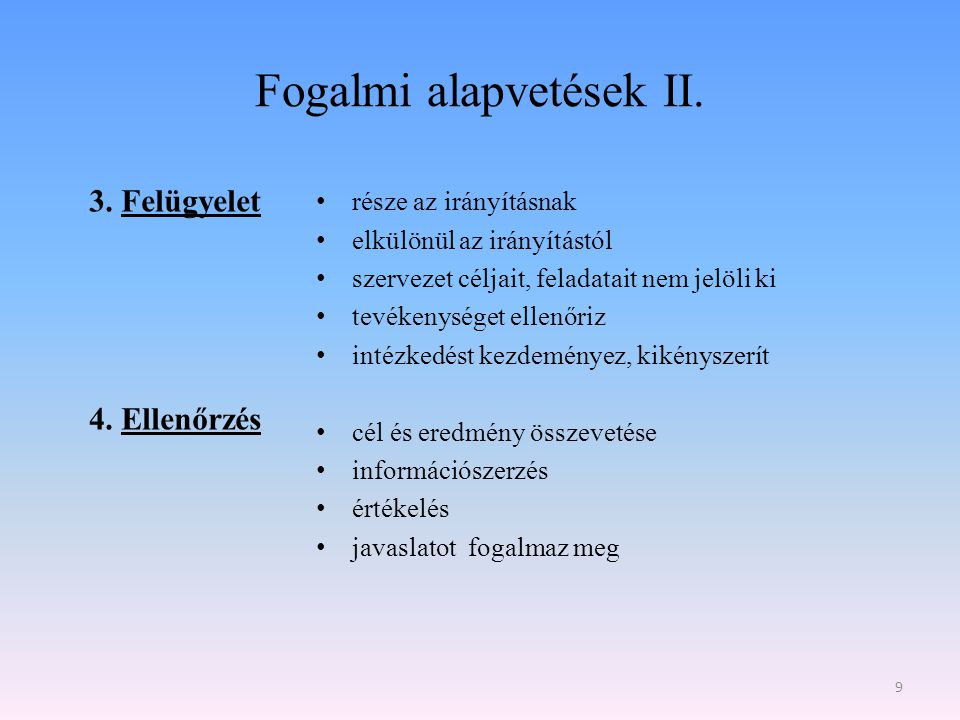 Fogalmi alapvetések II.