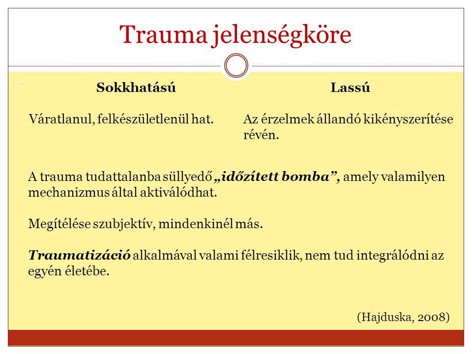 Trauma jelenségköre Sokkhatású Lassú Váratlanul, felkészületlenül hat.