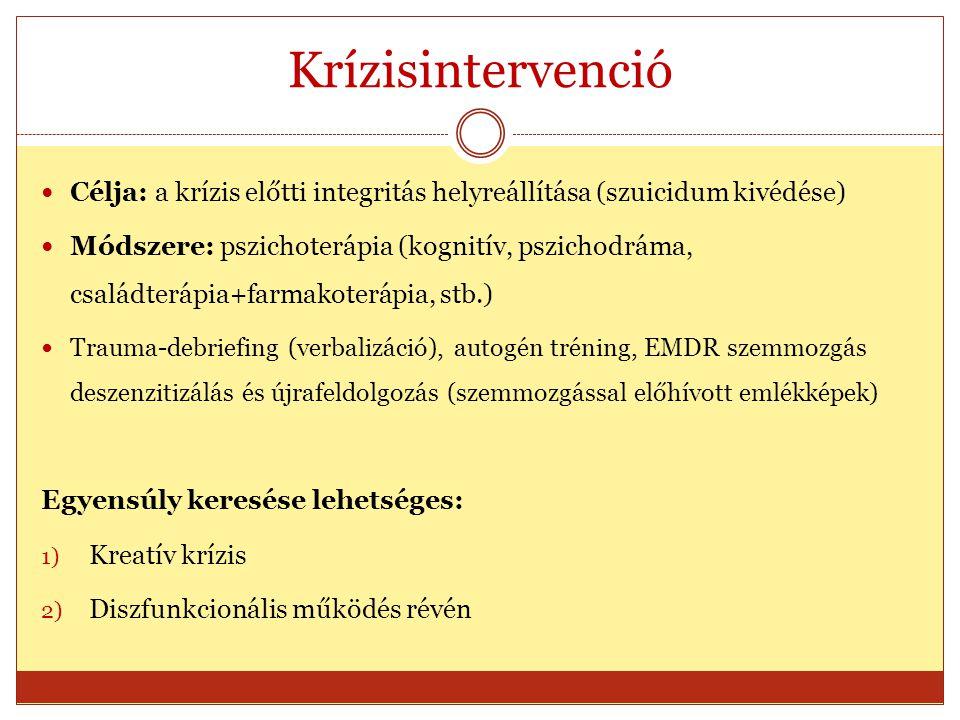 Krízisintervenció Célja: a krízis előtti integritás helyreállítása (szuicidum kivédése)