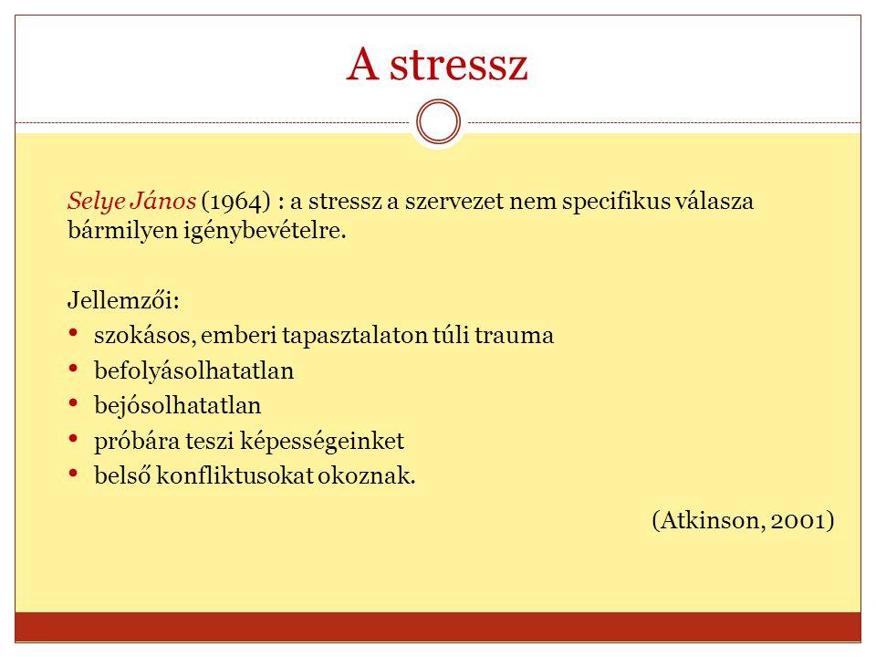 A stressz Selye János (1964) : a stressz a szervezet nem specifikus válasza bármilyen igénybevételre.