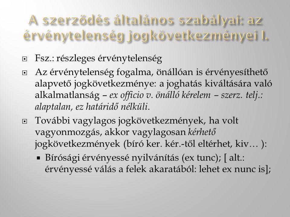 A szerződés általános szabályai: az érvénytelenség jogkövetkezményei I.