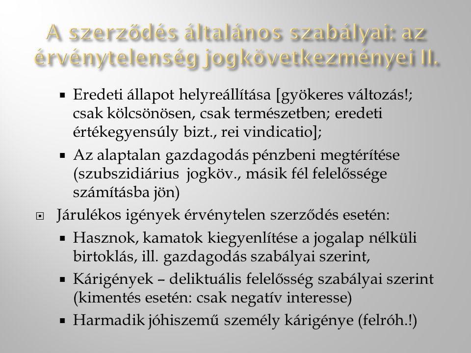 A szerződés általános szabályai: az érvénytelenség jogkövetkezményei II.