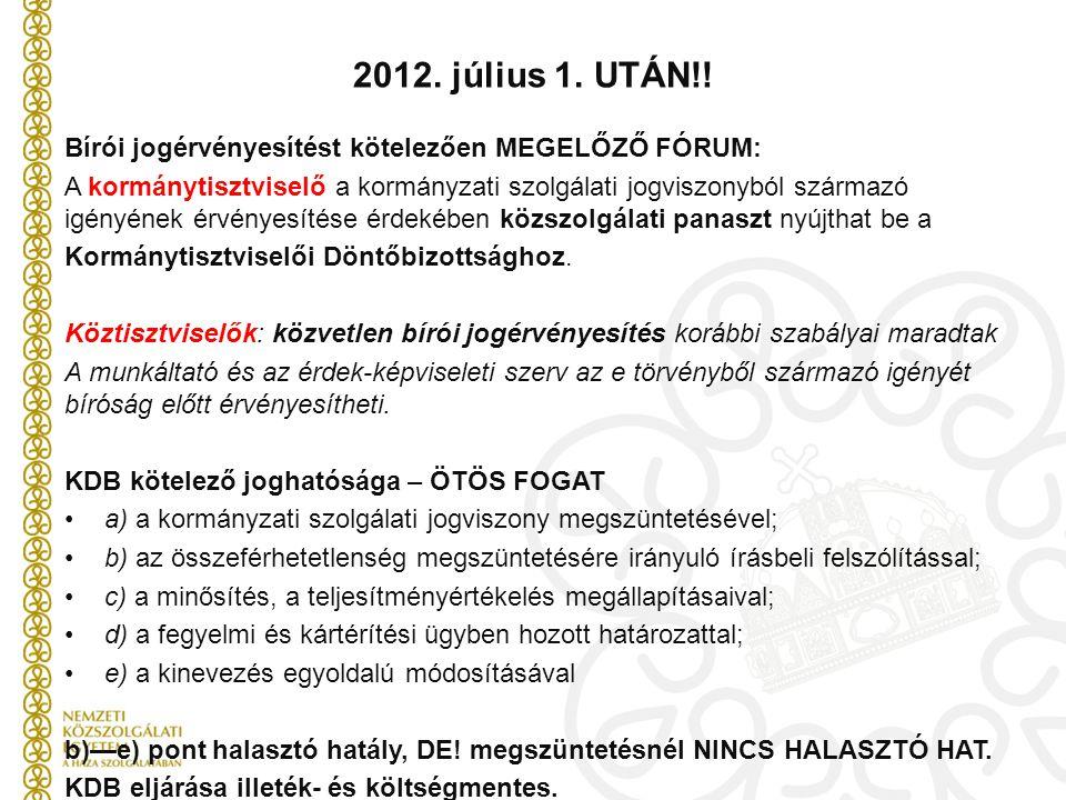 2012. július 1. UTÁN!! Bírói jogérvényesítést kötelezően MEGELŐZŐ FÓRUM: