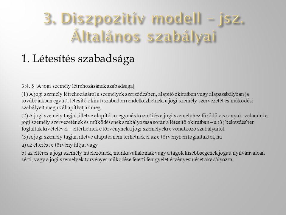 3. Diszpozitív modell – jsz. Általános szabályai