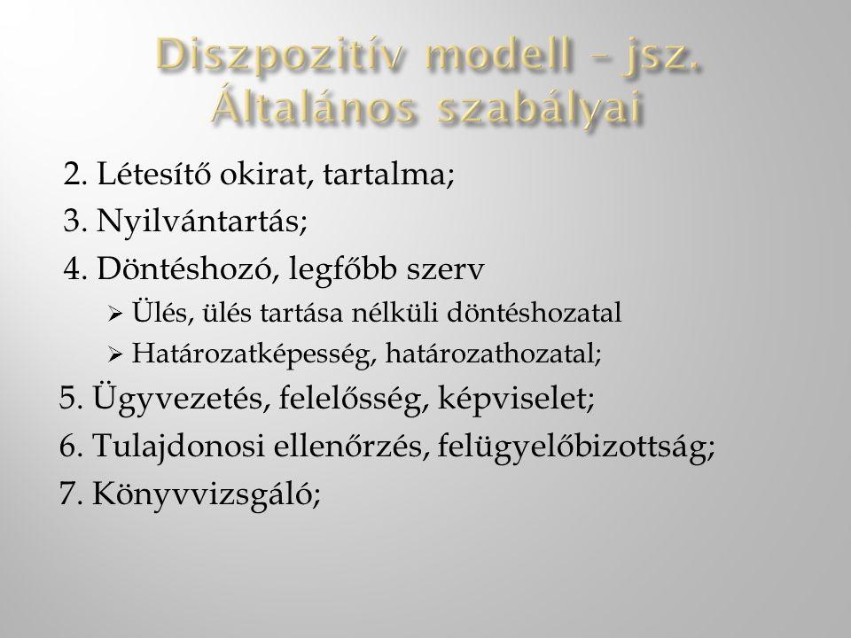 Diszpozitív modell – jsz. Általános szabályai