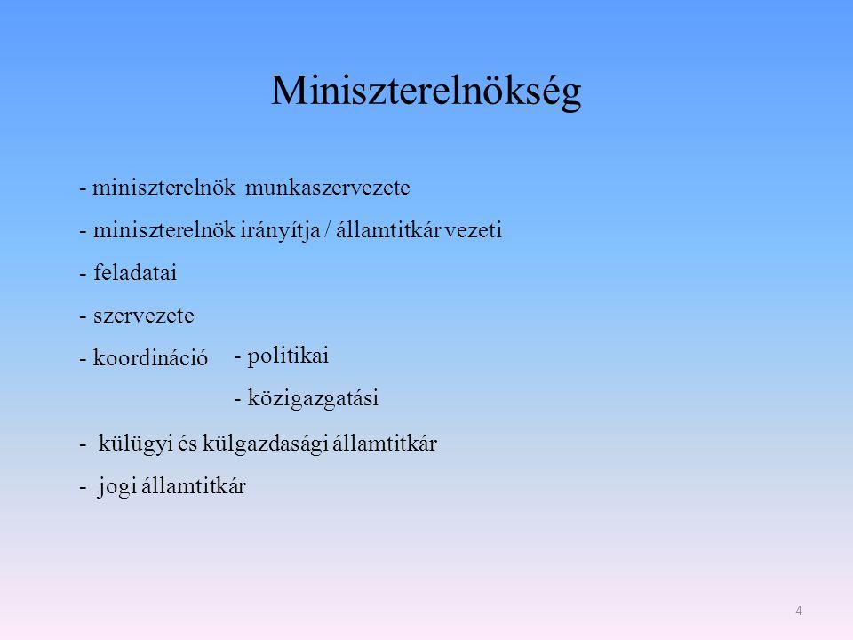 Miniszterelnökség - miniszterelnök munkaszervezete