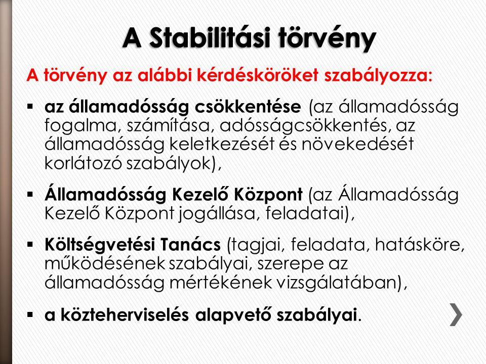 A Stabilitási törvény A törvény az alábbi kérdésköröket szabályozza: