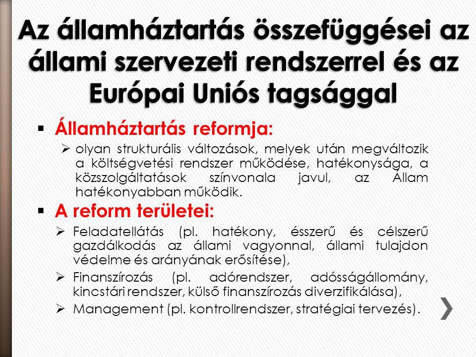 Az államháztartás összefüggései az állami szervezeti rendszerrel és az Európai Uniós tagsággal