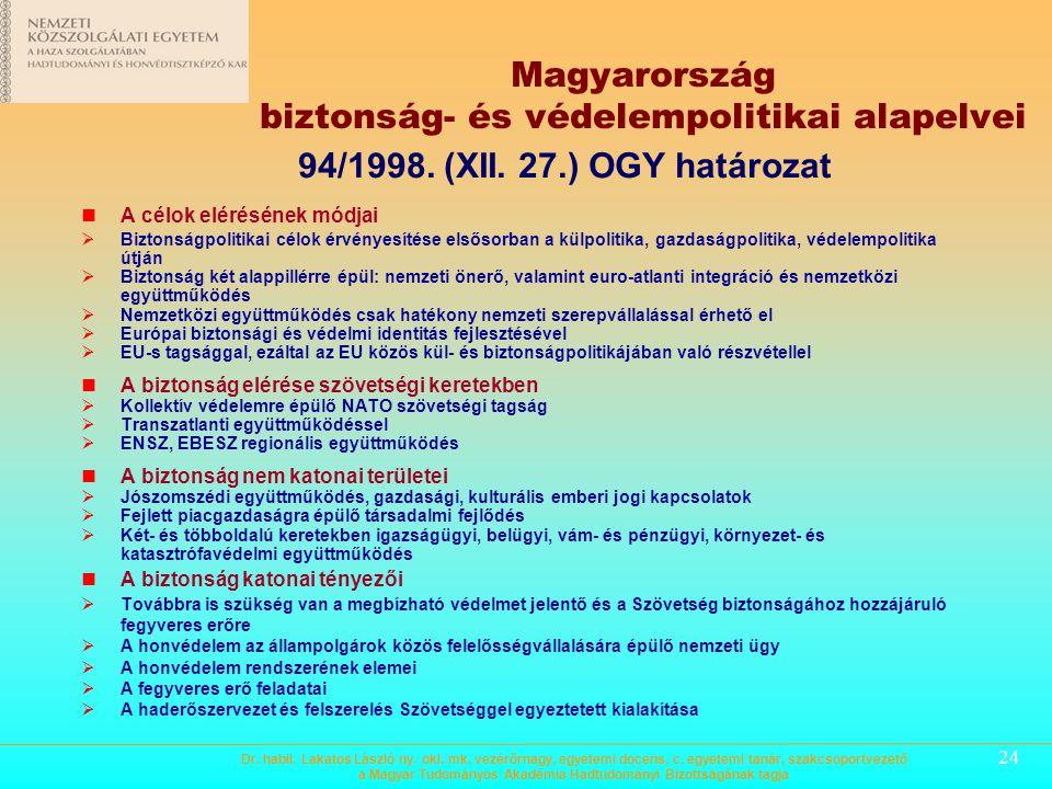 Magyarország biztonság- és védelempolitikai alapelvei
