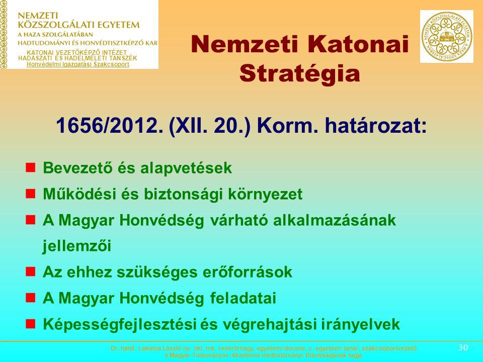 Nemzeti Katonai Stratégia 1656/2012. (XII. 20.) Korm. határozat: