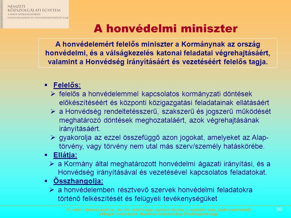 A honvédelmi miniszter