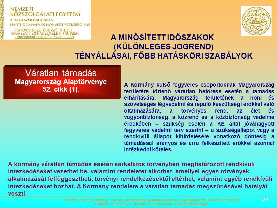 Váratlan támadás Magyarország Alaptörvénye 52. cikk (1).