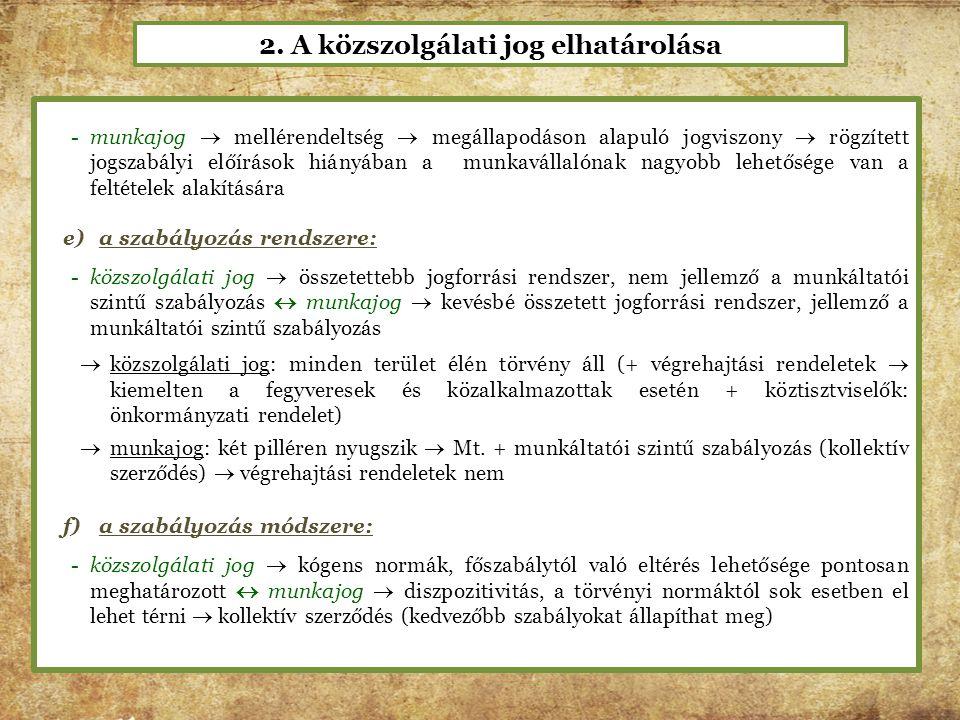 2. A közszolgálati jog elhatárolása