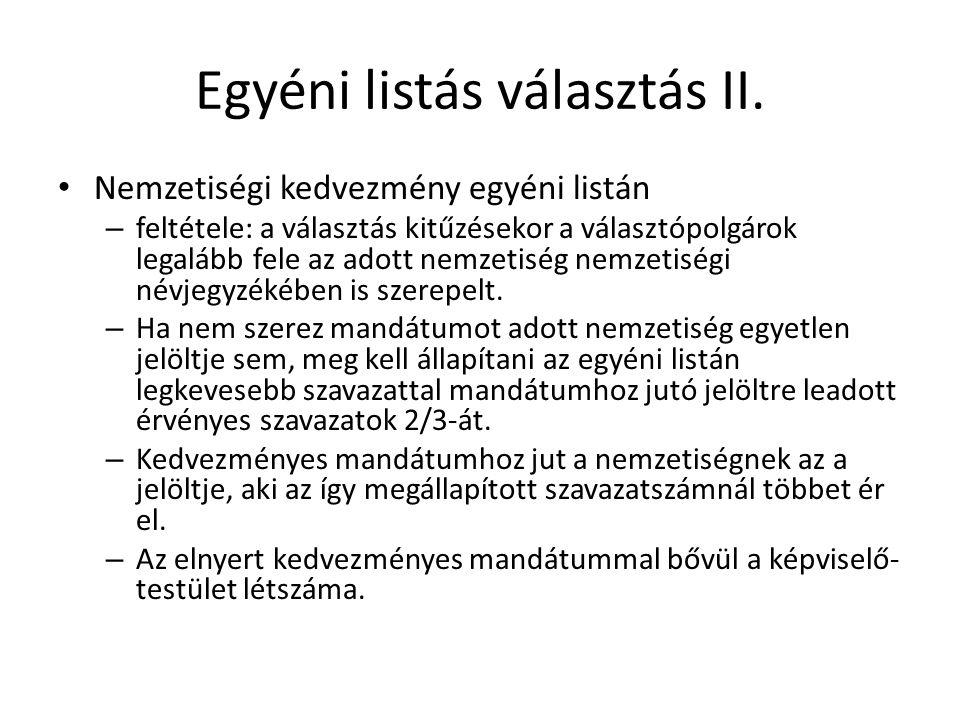 Egyéni listás választás II.